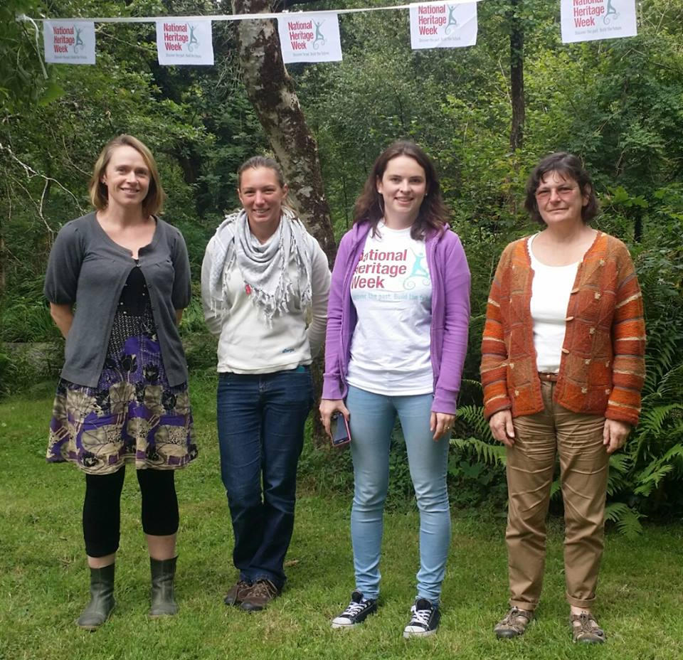 In Glengarriff Woods, Jessica Mason, Children's Workshop Leader; Lizzy Maskey, Ellen's great great great grandniece and Mountain Leader; Rosemary Mulvey of the Heritage Council; Madeline Hutchins