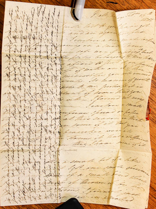 Ellen letter to Mackay, 15th February 1807 with cross hatching. (Image courtesy of the Herbarium, Trinity College Dublin)